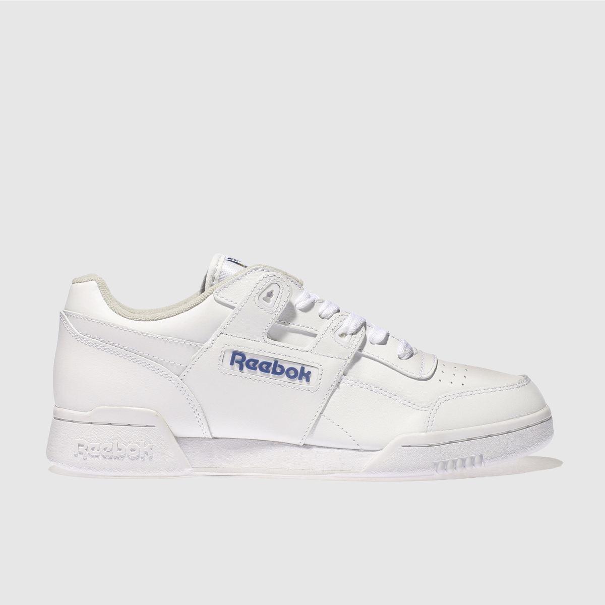 Reebok White & Blue Workout Plus Trainers