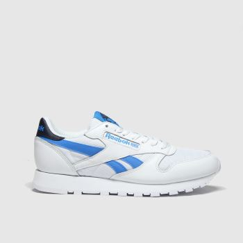 Reebok White & Pl Blue Classic Leather Mens Trainers