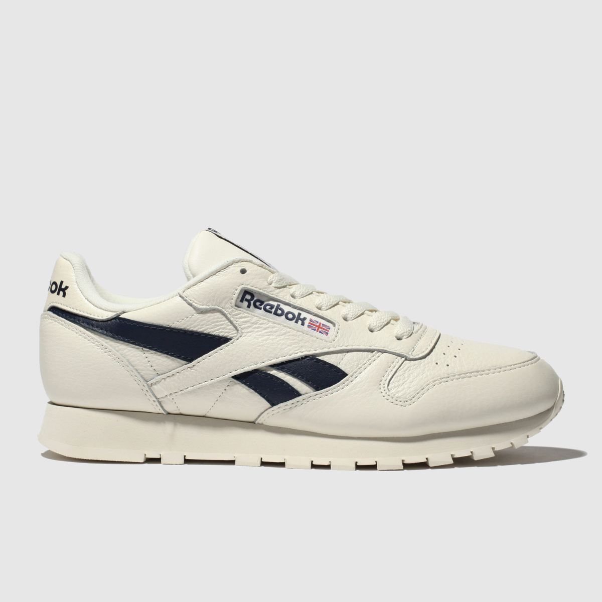 Reebok White & Navy Classic Leather Trainers