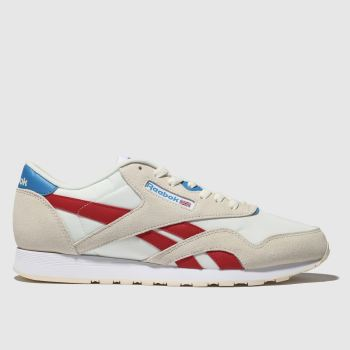 reebok white & red classic nylon trainers