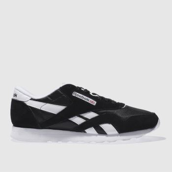6c45fa4cfac49 Reebok Black   White Classic Nylon Mens Trainers