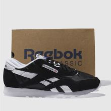 reputable site 1b51f 86a9d mens black & white reebok classic nylon trainers | schuh