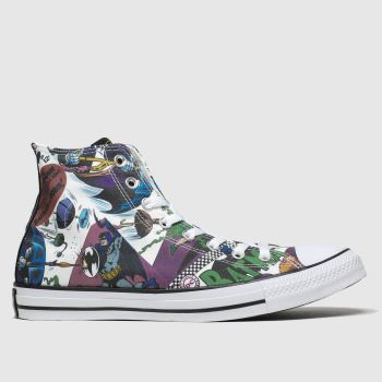 Converse white & green all star hi batman trainers