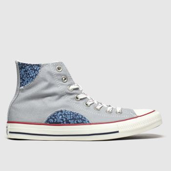 Converse Grey & Navy Hi Floral Mens Trainers