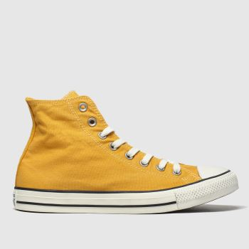 Converse Yellow Hi Washed Mens Trainers#