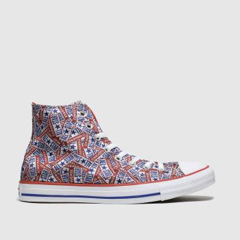 Converse White & Red Hi Logo Mens Trainers