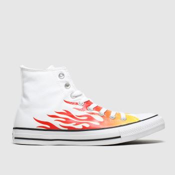 Converse White & Orange Hi Flames Mens Trainers