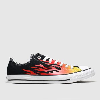 Converse Black & Orange Ox Flames Mens Trainers