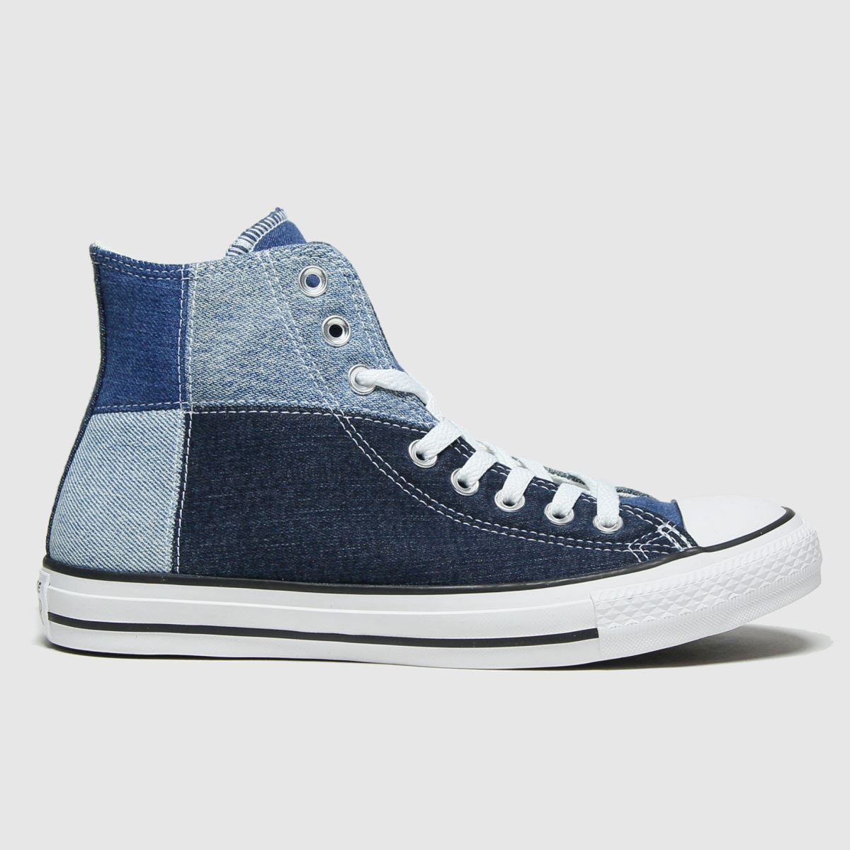 Converse Navy & Pl Blue Hi Upcycled Patchwor Trainers