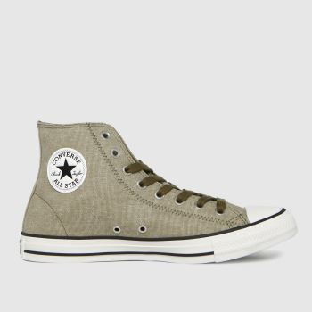 Converse Brown Washed Textile Hi Mens Trainers