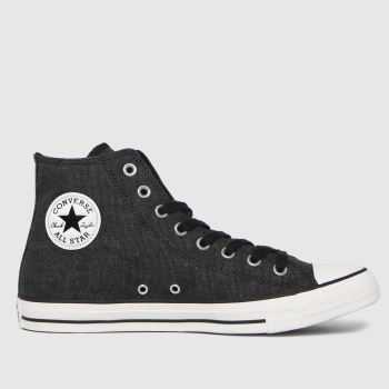 Converse Black Washed Textile Hi Mens Trainers