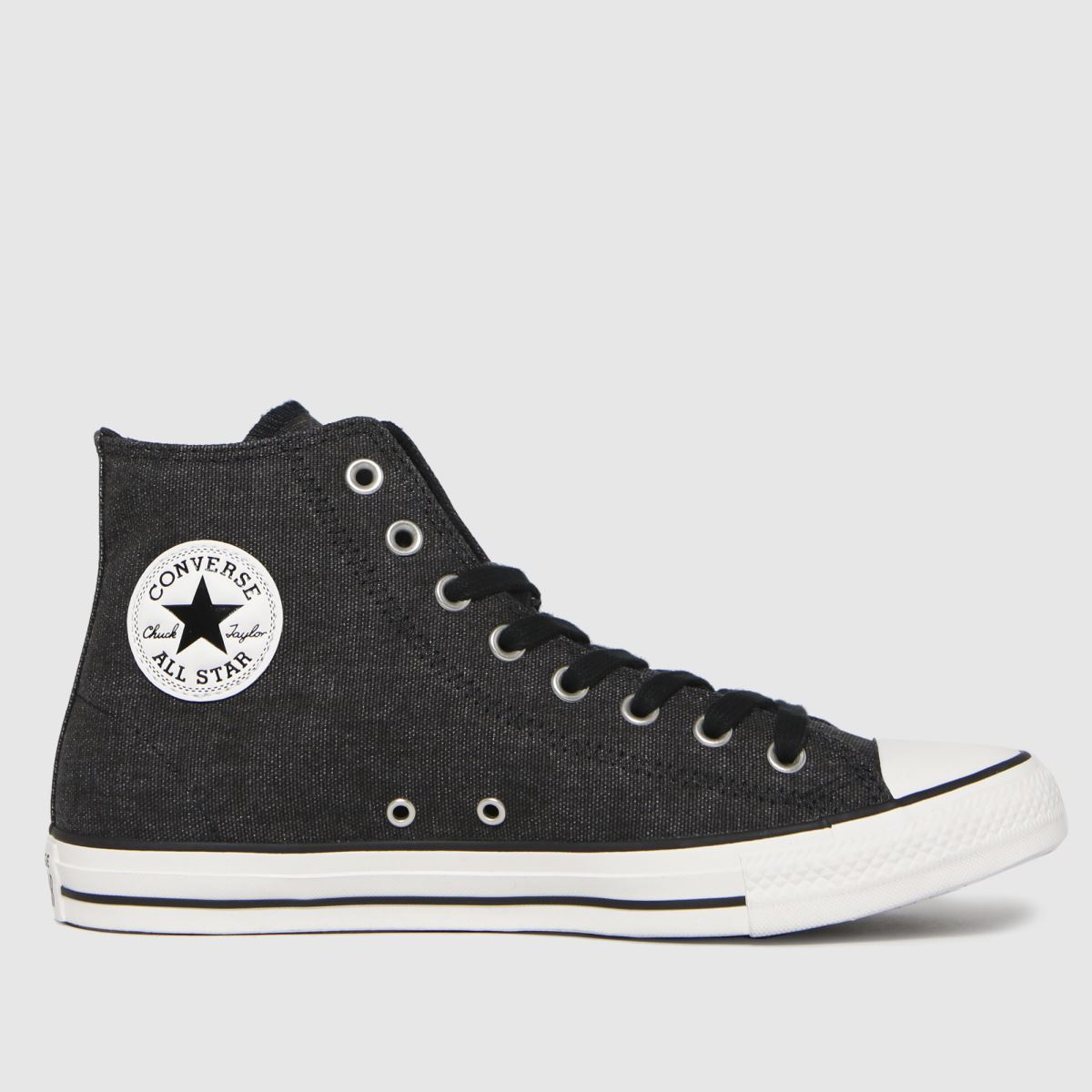 Converse Black Washed Textile Hi Trainers