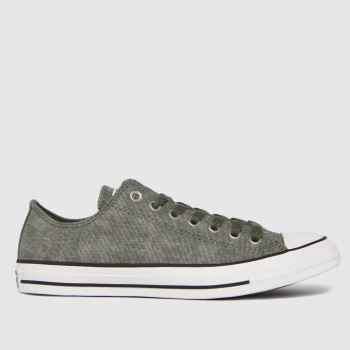Converse Dark Green Washed Textile Ox Mens Trainers
