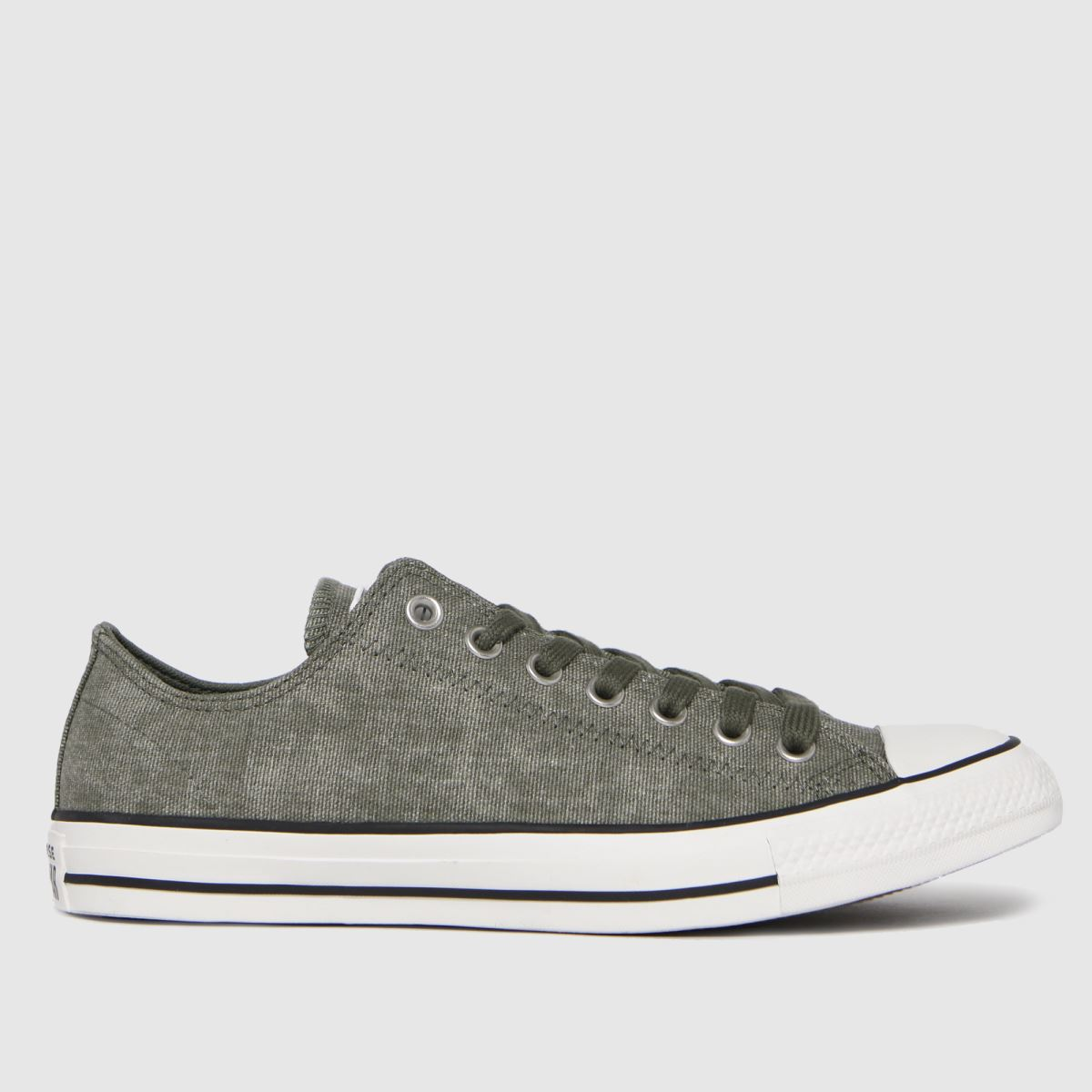Converse Dark Green Washed Textile Ox Trainers