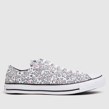 Converse White & Black Keith Haring Ox Mens Trainers