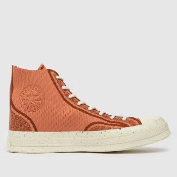Converse Orange Renew Chuck 70 Knit Hi Mens Trainers