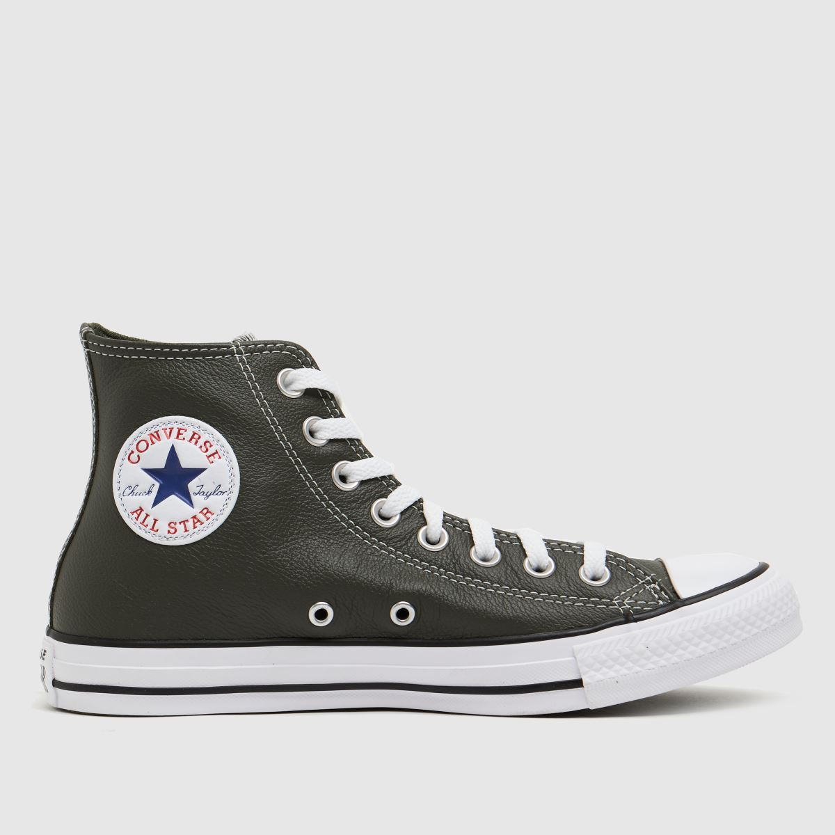 Converse Khaki Leather Hi Trainers