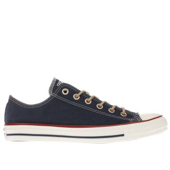 CONVERSE NAVY ALL STAR PEACH CANVAS OX TRAINERS