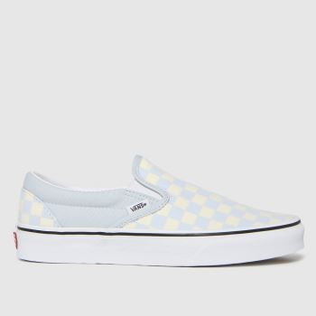 Vans White & Pl Blue Classic Slip-on Checkerboard Mens Trainers