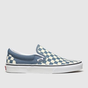 vans white & blue classic slip-on check trainers