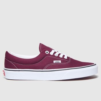 Vans White & Burgundy Era Mens Trainers#