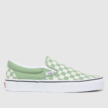 Vans white & green slip-on checkerboard trainers