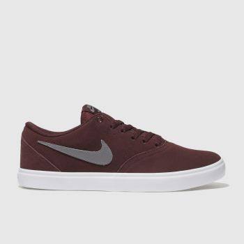 Nike Sb Burgundy Check Solarsoft Mens Trainers