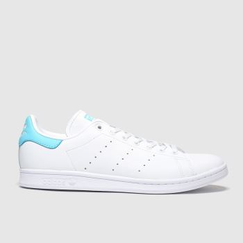 Adidas White & Pl Blue Stan Smith c2namevalue::Mens Trainers