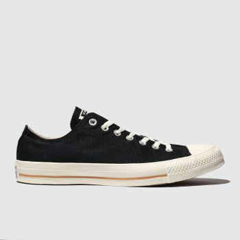 Converse Black All Star Washed Ox Mens Trainers
