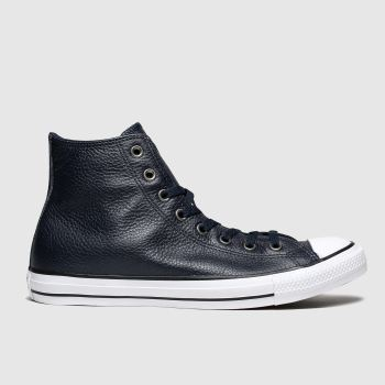 Converse Navy All Star Leather Hi Mens Trainers