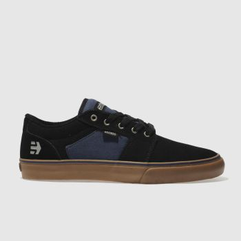 ETNIES BLACK & NAVY BARGE LS TRAINERS