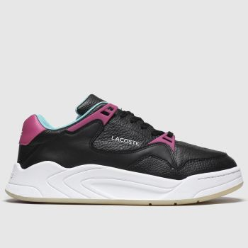 lacoste black & pink court slam trainers