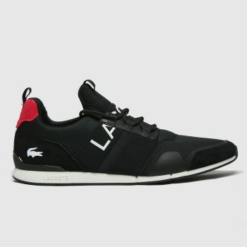 Lacoste Black & Red Menerva Elite Mens Trainers