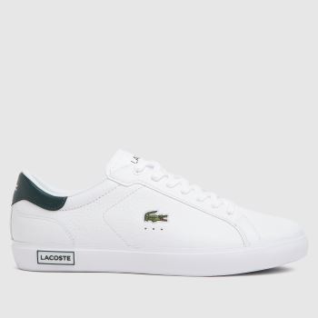 Lacoste White & Green Powercourt Mens Trainers