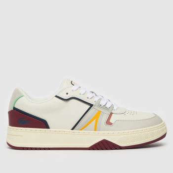Lacoste White & Burgundy L001 Mens Trainers