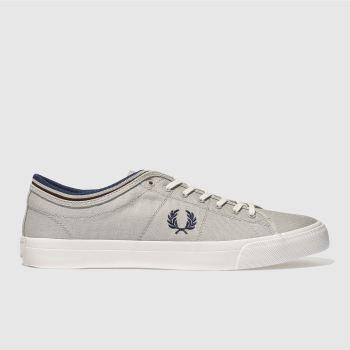 Fred Perry Light Grey KENDRICK TIPPED CUFF CANVAS Trainers