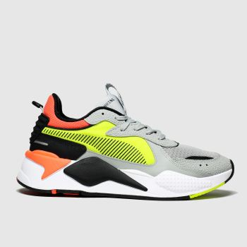 Puma Grey & Yellow Rs-x Hard Drive Mens Trainers