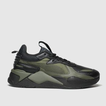 PUMA Black & Green Rs-x Winterized Mens Trainers
