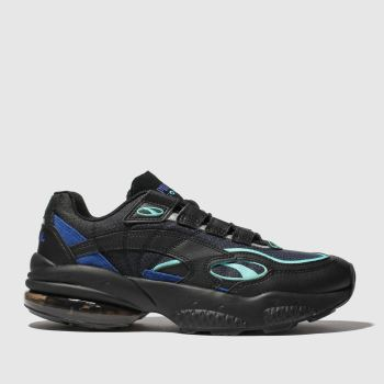 puma black and blue cell venom trainers