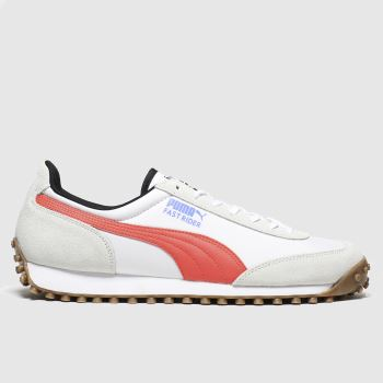 Puma White & Orange Fast Rider Source c2namevalue::Mens Trainers