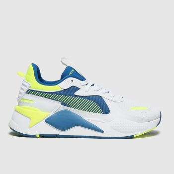 PUMA White & Yellow Rs-x Hard Drive Mens Trainers