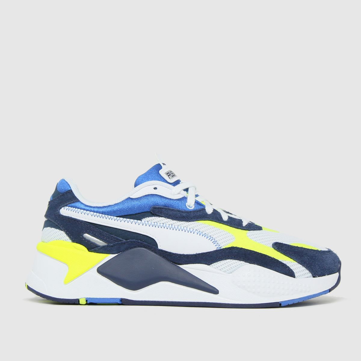 PUMA White & Blue Rs-x3 Twill Airmesh Trainers