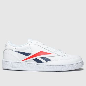 Reebok White & Red CLUB C VECTOR Trainers