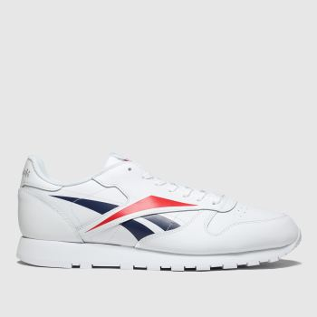 Reebok White & Red Classic Leather Vector Trainers