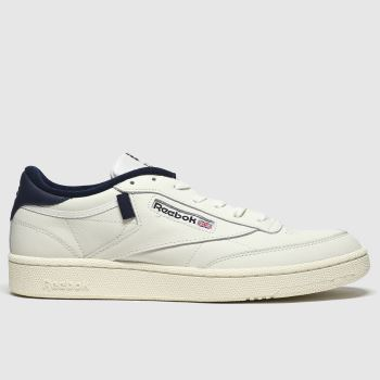 Reebok White & Navy Club C 85 Mens Trainers