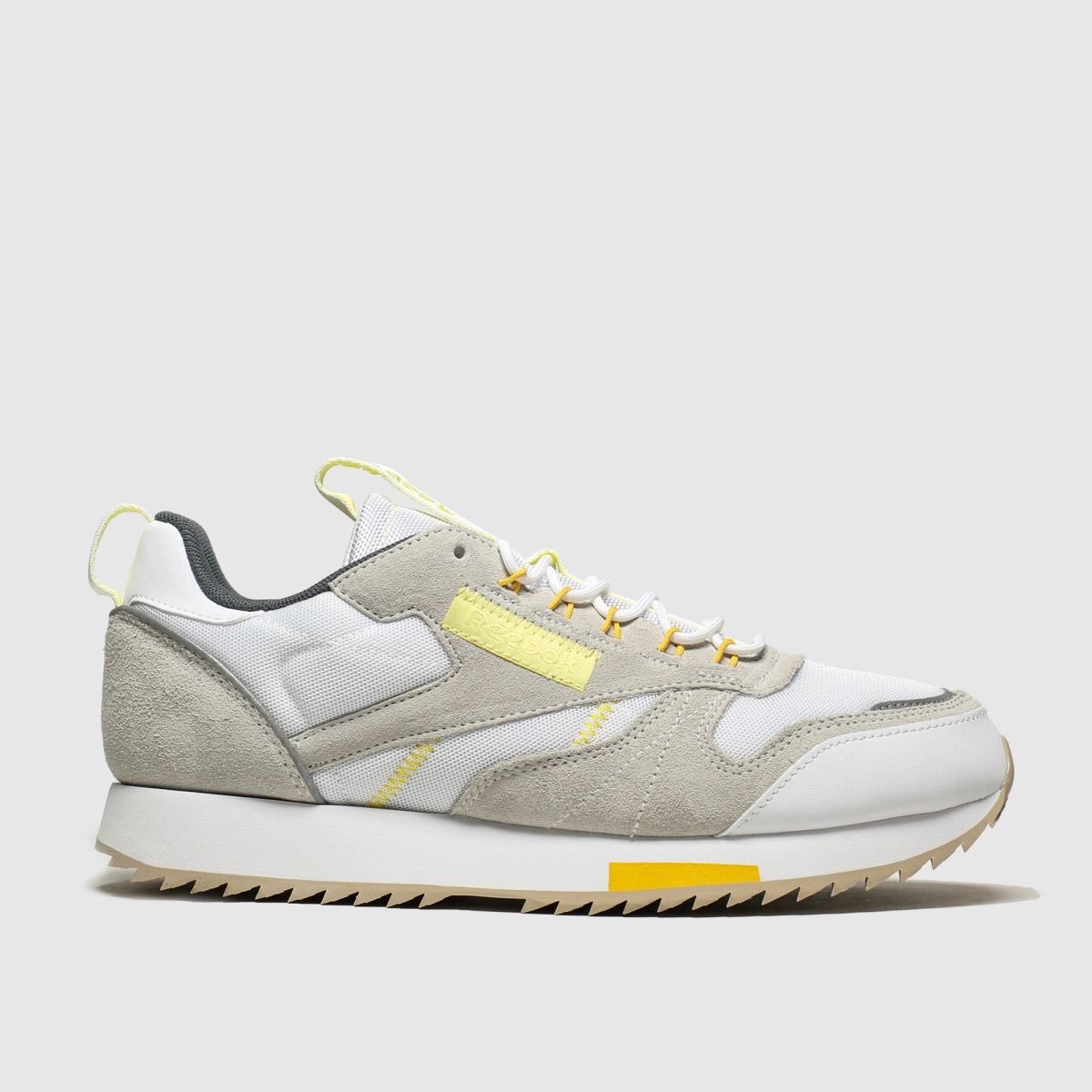 Reebok White & Yellow Classic Leather Ripple Trail Trainers