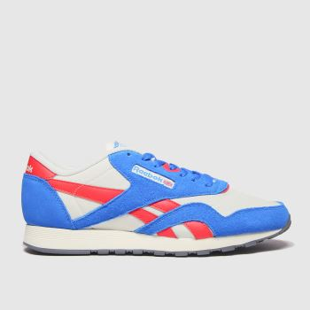 Reebok White & Blue Classic Nylon Mens Trainers