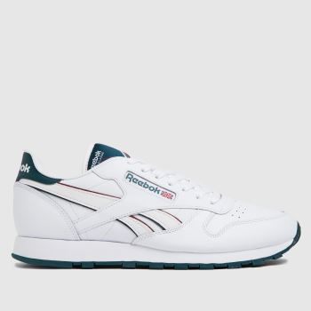 Reebok White & Green Cl Leather Mens Trainers