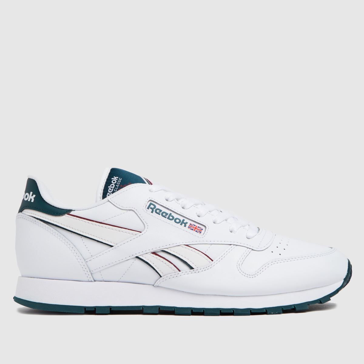 Reebok White & Green Cl Leather Trainers