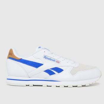 Reebok White & Blue Cl Leather Mens Trainers